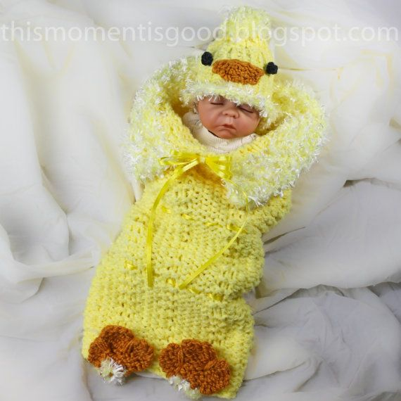 Loom Knitting PATTERN; PATTERN ONLY includes Baby Chick Hat & Cocoon