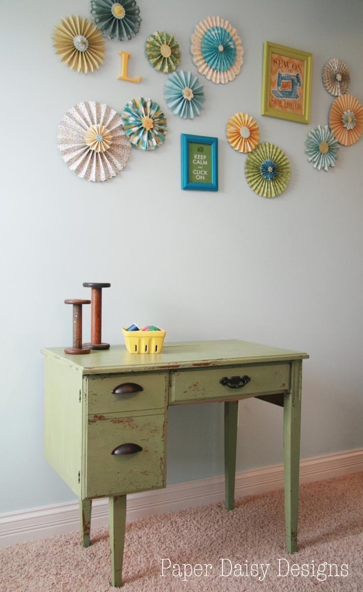 Sewing area in my studio. Luckett's Green Milk Painted Sewing table. Paper Medallion wall art.