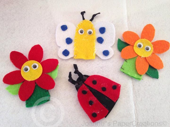 Felt finger puppets made by Joanne's PaperCreations.