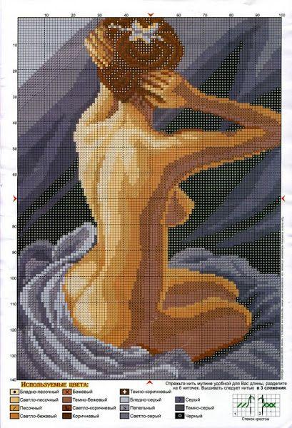 Lady nude x-stitch