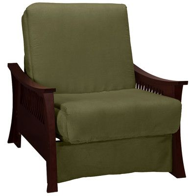 epic furnishings llc beijing futon chair frame finish mahogany seat finish olive green - Flip Chair Bed