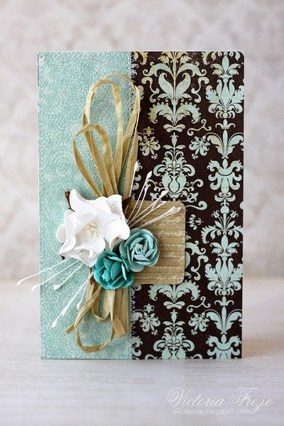 Use flat flowers with rafia and string tipped with beads for layered cards that can still be sent regular mail - always love brown & turq