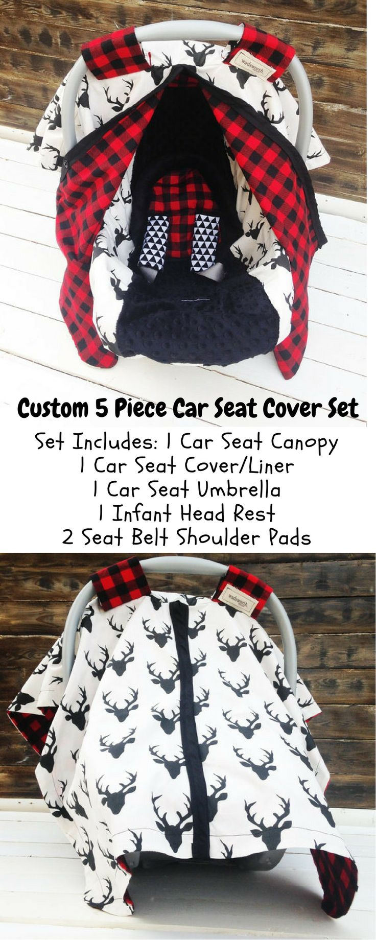 Little Boy 5 piece car seat cover set in woodland theme. #ad #carseat#cover#set#woodland#infant#littleboy