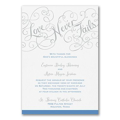 It Never Fails, Just Like It Says Here On This Romantic , Double Thick White  Paper Wedding Invitation. Choose The Options That Show Your Style.