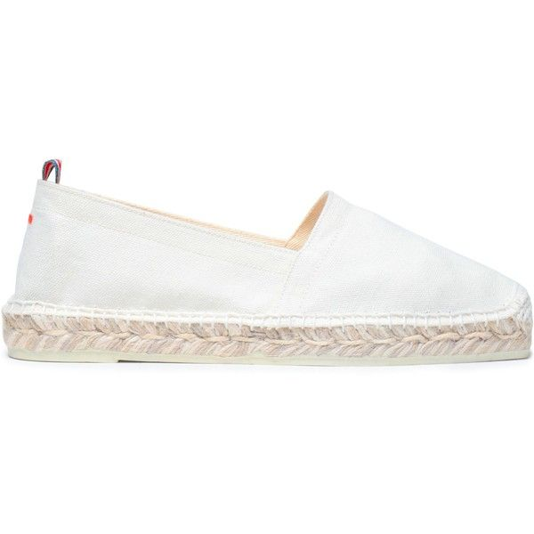 Castañer Canvas espadrilles ($57) ❤ liked on Polyvore featuring shoes, sandals, white, espadrille wedge sandals, white wedge heel sandals, wedge espadrilles, white sandals and white wedge sandals