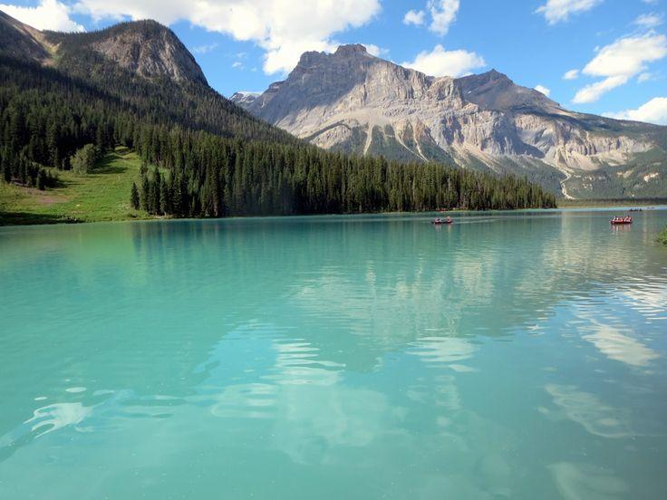 Emerald Lake is a popular tourist destination in Yoho National Park, British Columbia, Canada. A hiking trail runs right around the lake.