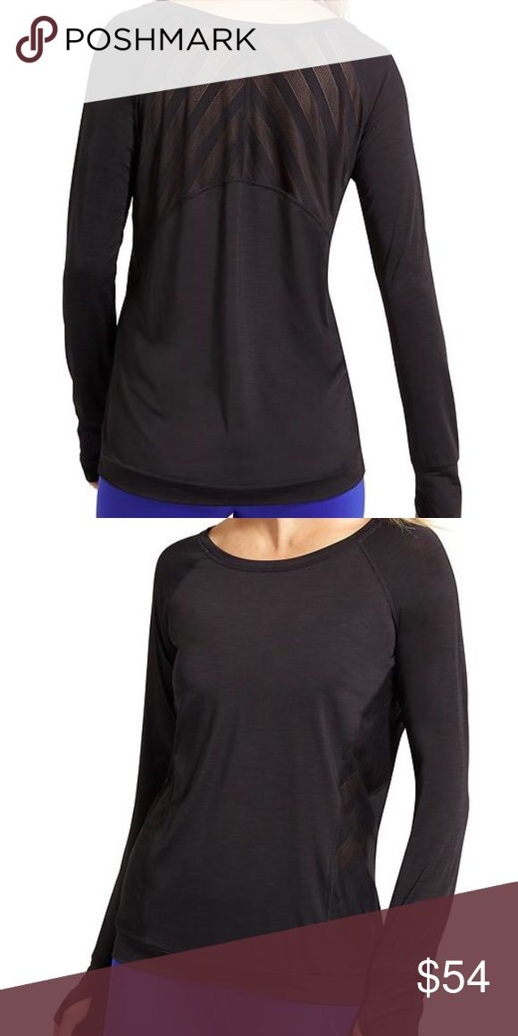 NWT Athleta Kettlebella long sleeve A new favorite for our gym workouts, this wicking, breathable top features Unstinkable technology and chevron mesh insets at the back for ventilation. INSPIRED FOR: gym/training, studio workouts Chevron mesh ventilation in back lets sweat escape High-low hem covers your assets #591388 Athleta Tops Tees - Long Sleeve