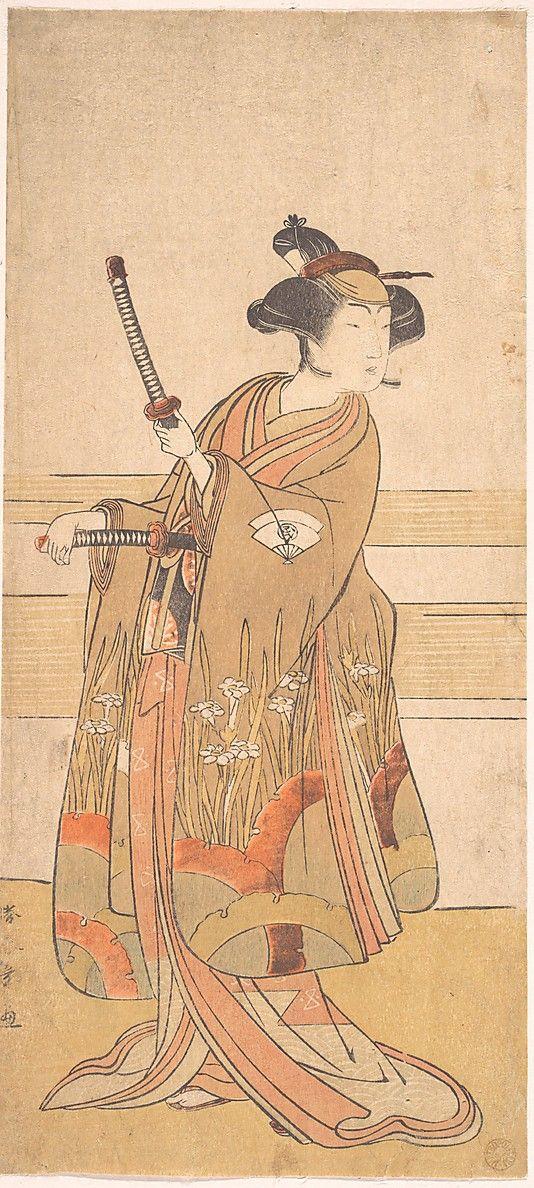Onoe Tamizo as a Samurai Woman Katsukawa Shunshô (Japanese, 1726–1792) Period: Edo period (1615–1868) Date: ca. 1775 or 1776 Culture: Japan Medium: Polychrome woodblock print; ink and color on paper