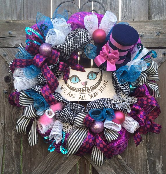 Alice in Wonderland Decor, Alice in Wonderland Wreath, Disney Wreath, All Season Wreath, Everyday Wreath, Cheshire Cat, We're All Mad Here on Etsy, $149.00