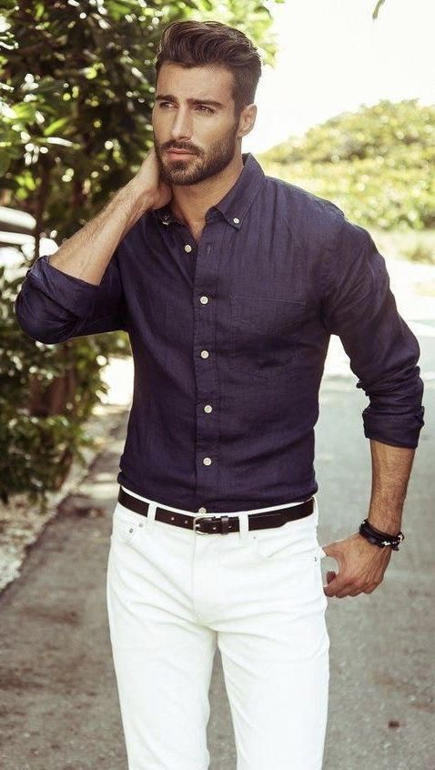 Summer outfit inspiration with a plumb button collar button up shirt with rolled up sleeves dark brown leather belt wris…