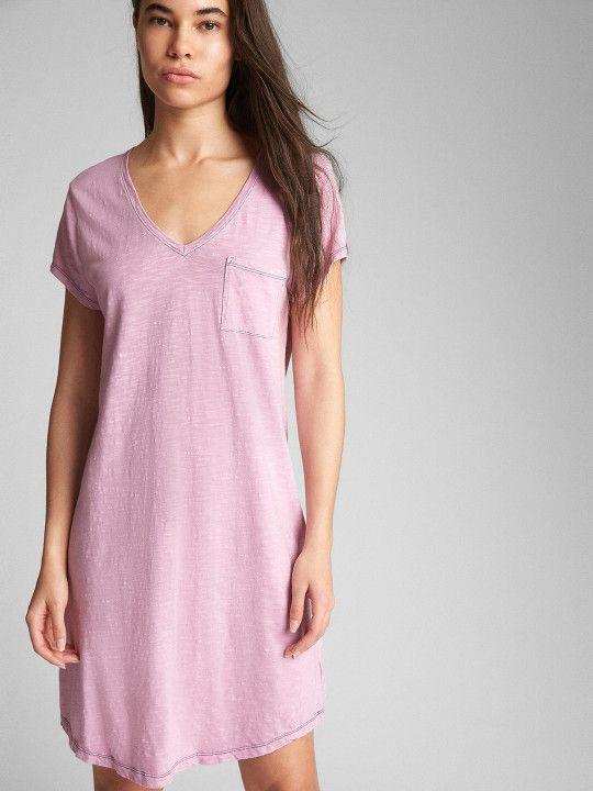 e244b8a9f88 GAP Women Pink Solid Short Sleeve Pocket T-Shirt Dress - | 999 ...