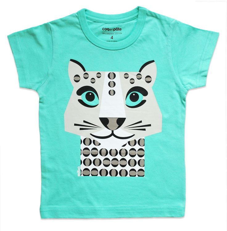 Green Kids T-shirt - Snow Leopard By Coq en Pate (size 4)