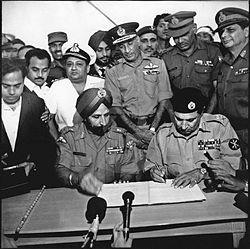 Bangladesh Liberation War - East Pakistan becomes Bangladesh with Pakistan surrendering to Indo-Bangla join force in 1971