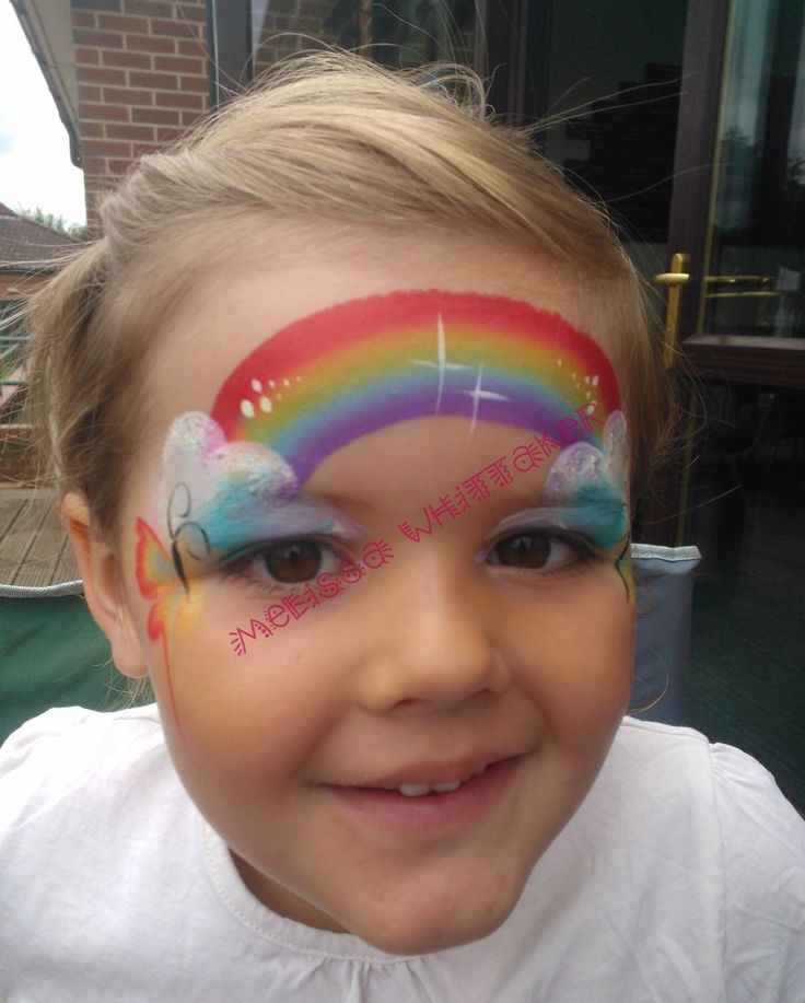 Rainbow & butterflies face painting