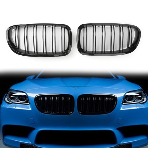 1ef465471532 Double Line Front Hood Kidney Grill Grille For BMW 5Series F10   F11  F18  (10-16) Gloss Black