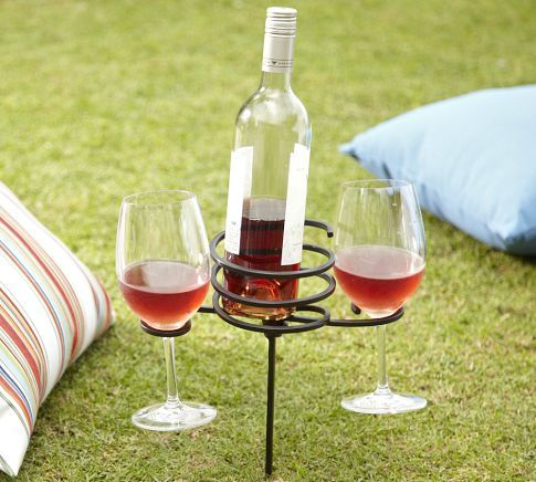 Well, I obviously need this right now.: Beverages Stakes, Summer Picnics, Picnics Beverages, Wine Holders, Fun Ideas, Wine Bottle, Summer Night, Wine Glasses, Pottery Barns