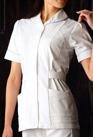 パイピングと胸元の切り替えが個性的!女性用白衣・パイピングチュニック・ナース服