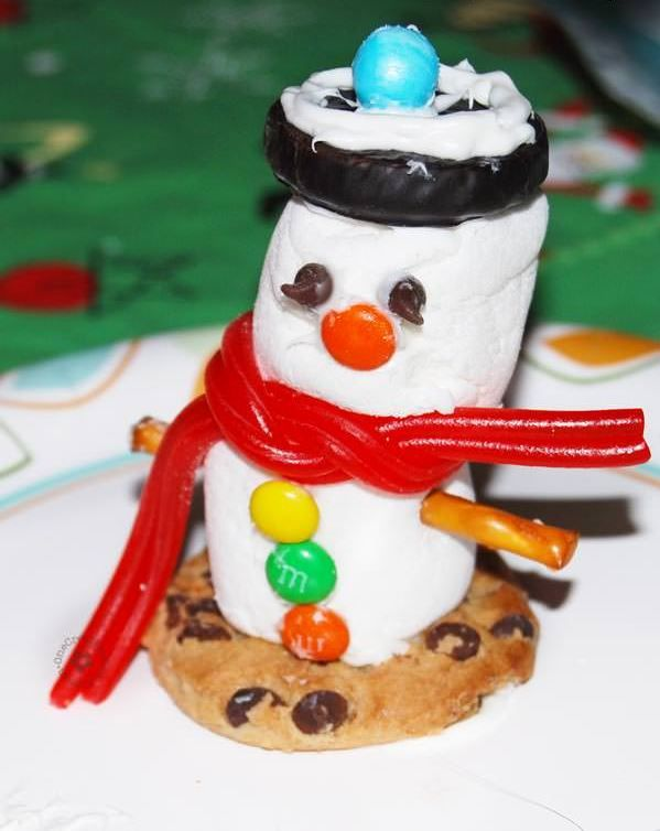 Fun Marshmallow Snowman Craft | If your son or daughter has a winter birthday, consider organizing these winter crafts for kids at the party.