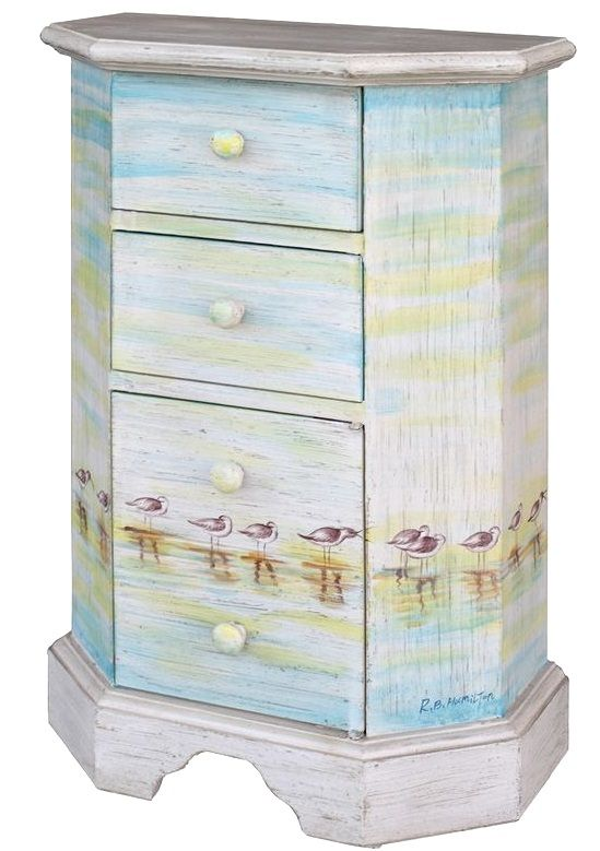 Beach cabinets with art printed on it: http://beachblissliving.com/beach-art-on-furniture-painted-dresser-chest/