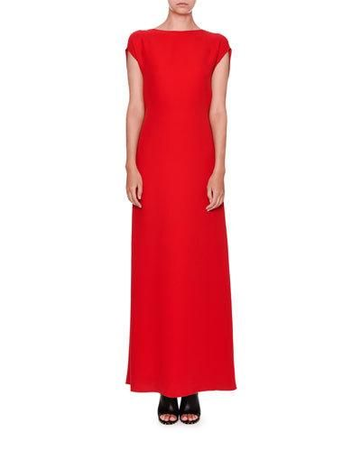 W0GJC Valentino Sleeveless Cady Cowl-Back Gown, Red