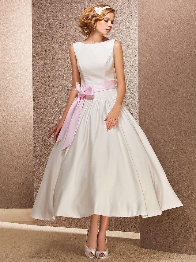 A-Line Bateau Tea Längd Satin Skräddarsydd Bröllopsklänning med Draping av LAN TING BRIDE® / Liten Vit Klänning / Liten Vit Klänning