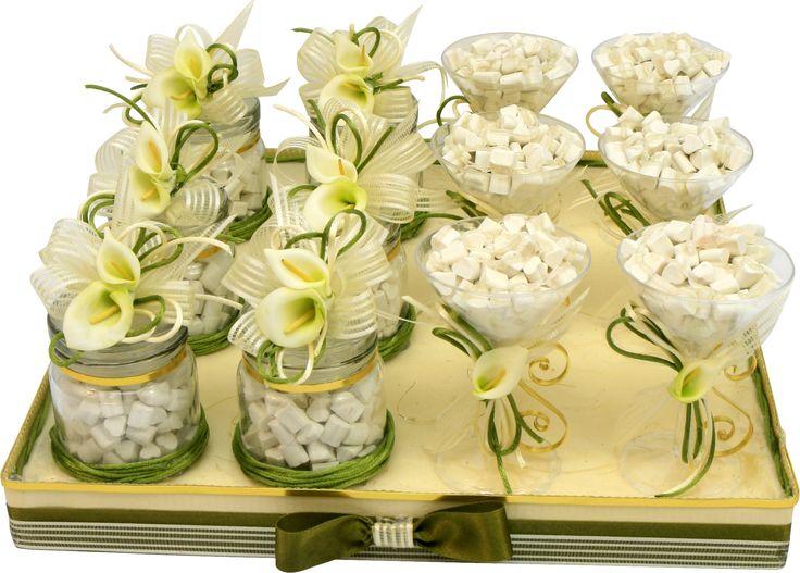 Recuerdos originales para bodas color verde, Centros de mesa