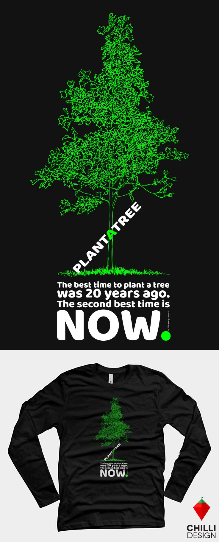 Trendy Environmental T Shirt Design With Slogan Plant A Tree And