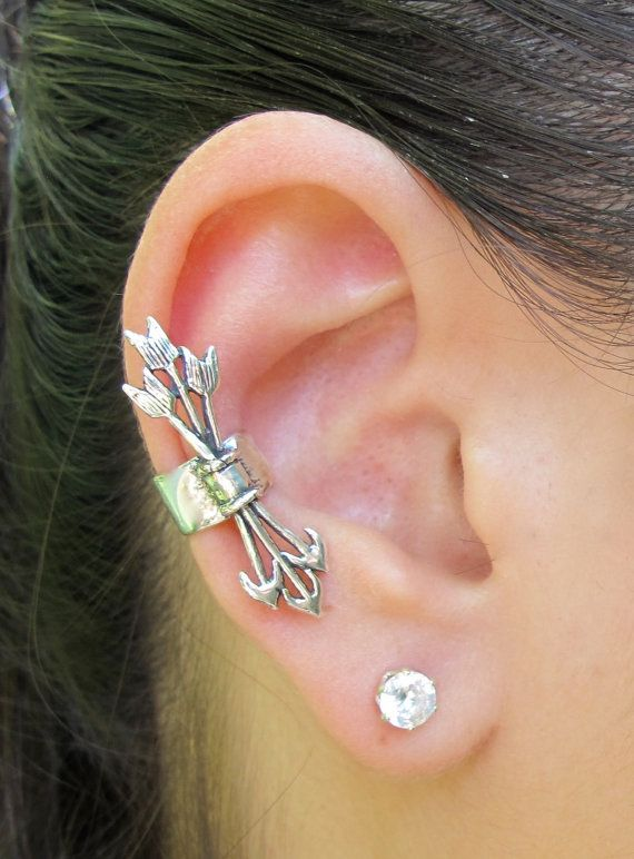 Silver Quiver and Arrows Ear Cuff for $39.00 -- I want a right and a left ear one!!! So cool!!