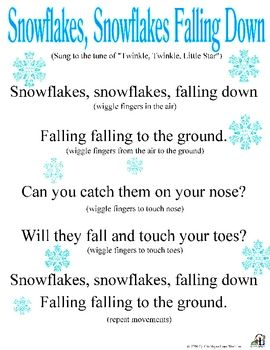 movement activities/games: catchy song about snow that all the kids can sing together with the teachers, after the song they can talk about snow and what its like and how snowflakes are all different and no two look alike.
