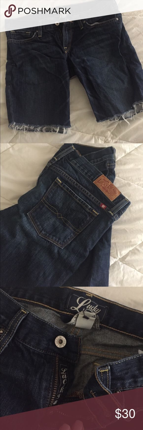 Lucky Brand Long Jean Shorts Lucky Brand Long Crop Jean Shorts - very comfortable. In perfect condition. The crop/cutoff is like shown in the pictures. Size 6/28. Darker wash Lucky Brand Shorts Jean Shorts