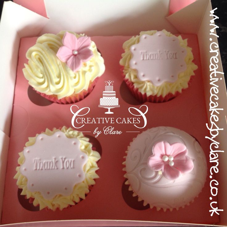 Pink thank you cupcakes
