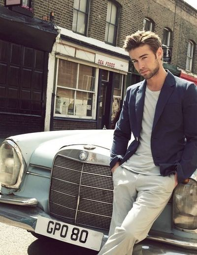 Mr. Chace Crawford in a tee shirt and blazer....but the Mercedes makes it all the better.