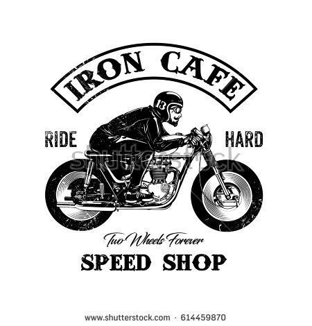 hand drawing of man riding a classic cafe racer motorcycle, texture is easy to remove