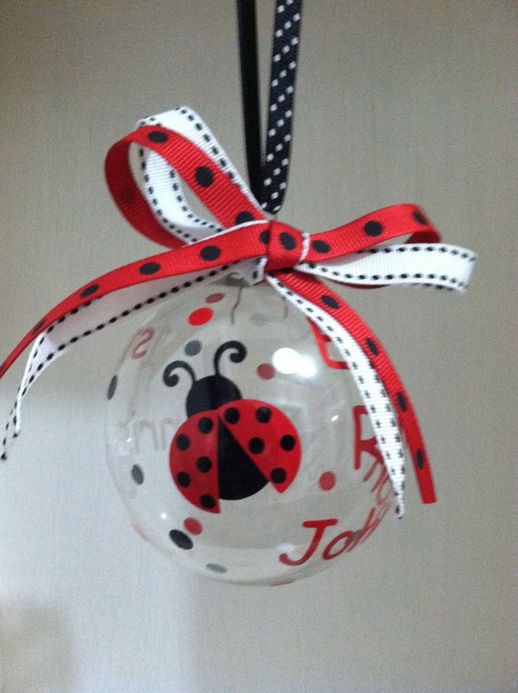 Personalized Ladybug Theme First Christmas Glass Ornament. $7.00, via Etsy.