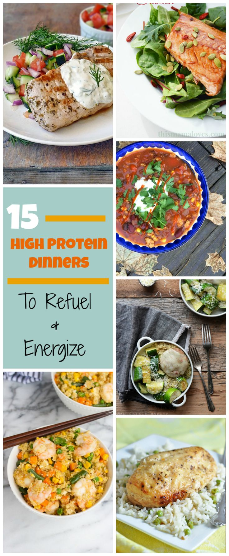 15 High Protein Dinner Recipes that are great for refueling and energizing after an intense workout. Chicken recipes, beans, fish and many recipes that will help you get lean and stay healthy.