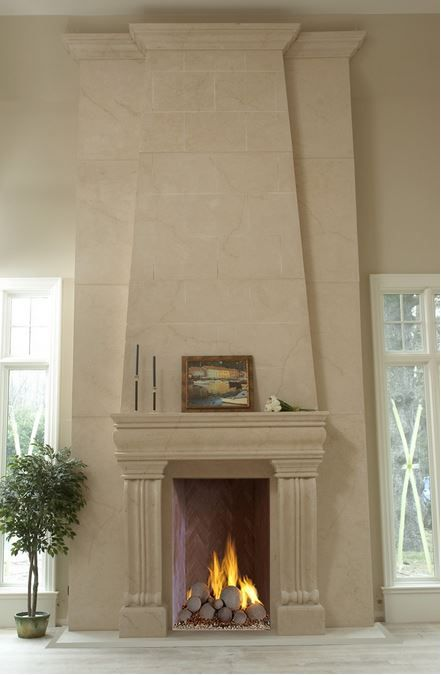 Cast stone fireplace mantel and overmantel ~ Omega's overmantels are the perfect complement for any fireplace making it truly the centerpiece in any home. These are highly customizable. You are free to mix and match overmantels and cast stone mantels according to your preference.  Talk to an Omega specialist near you! You can ask for a free consultation and/or brochure here: http://www.omegamantels.com/how-to-buy/index.php