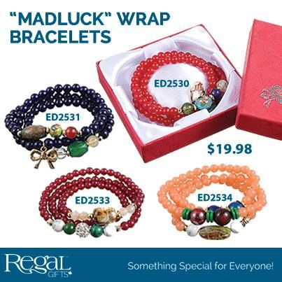 """""""MADLUCK"""" WRAP BRACELET Beaded elastic bracelets are created with wonderful glass beads and tiny charms to bring good luck to the wearer. Each bracelet comes in a special box. 22""""L"""