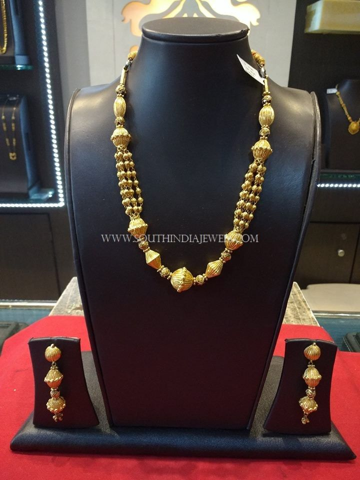 Gold Beaded Necklace and Earrings, Latest Gold Beaded Necklace Designs.