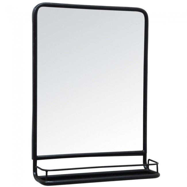 la16 blacked metal framed mirror