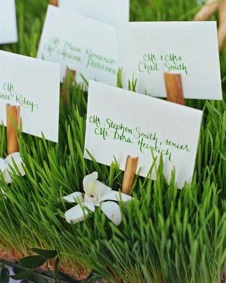 Grassy Wedding Escort-Card Display l Martha Stewart Weddings