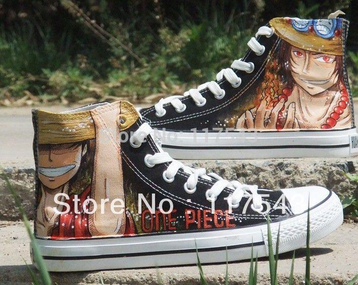 Anime scarpe donna/uomo one piece scarpe dipinte a mano di un pezzo dipinto tela di un pezzo di alta cima scarpe a mano (5 version)(China (Mainland))