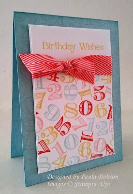 Love the fun, festive feeling of this birthday card.: Cards Ideas, Birthday Stamps, Cards Birthday, Birthday Wish, Birthday Cards, Cards Layout, Birthday Numbers, Memorizing Moments, Inspiration Memorizing