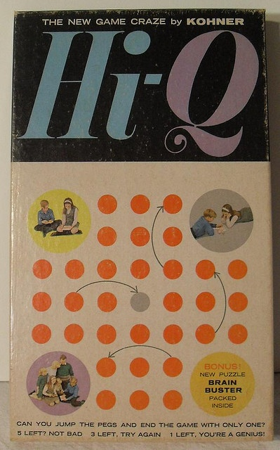 Un joc interesant pe care îl am și eu într-o formă rotundă. (Vintage 1960s Hi-Q Game, Wow! I used to  play this for hours.)
