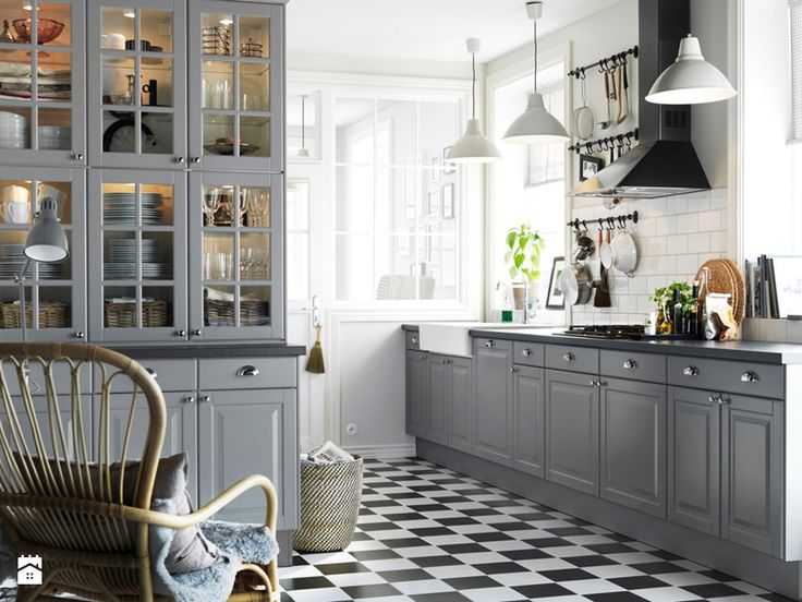 Black and white floor tile pattern for country kitchen ideas with soft grey kitchen cabinet with retro pendant lamps modern kitchen floor tile kitchen floor