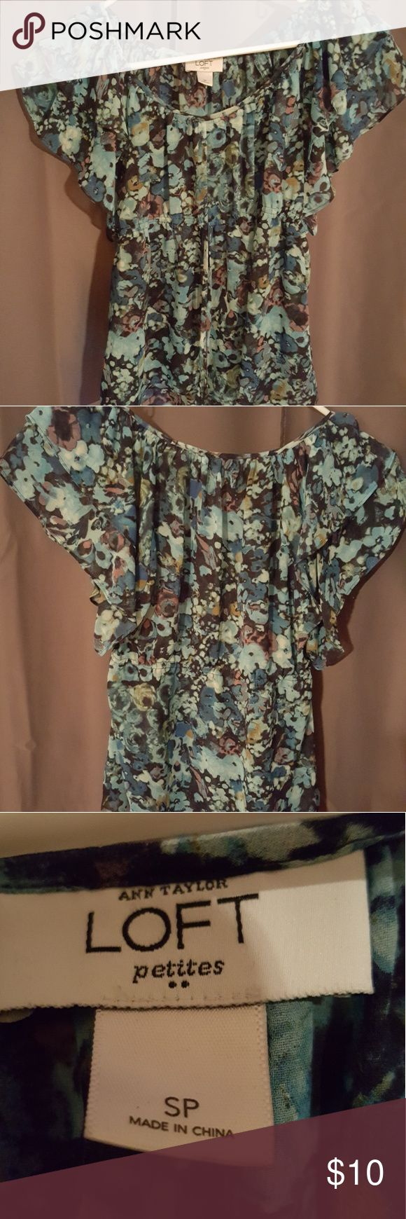 Anne Taylor LOFT sheer floral top Good condition...only worn a couple of times. Sheer floral material does not wrinkle. Size small petite. LOFT Tops Blouses