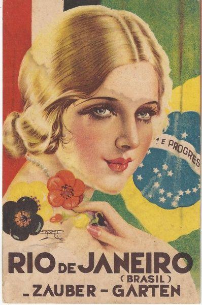 Belíssimo Cartão Postal, ilustração de Mora, série do departamento de turismo do Distrito Federal. Ao fundo bandeiras do Brasil e Alemanha Zauber-Garten. Excelente estado de conservação.