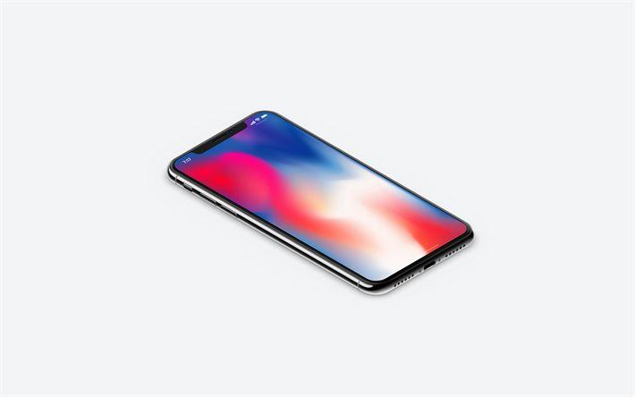 Download wallpapers Apple iPhone X, 4k, smartphone, iPhone 10, Apple