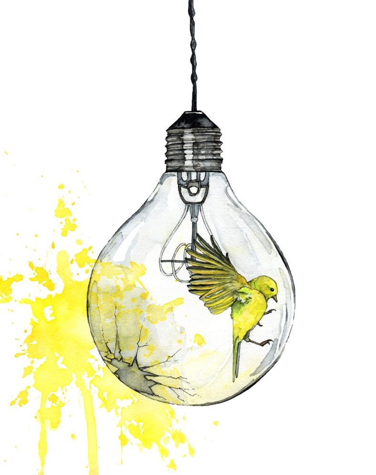 "Watercolor Painting, Light Bulb Painting, Watercolor Print, Bird, Paint Splatter, Light Bulb Art, Bird Print, Print titled, ""Shattering"""