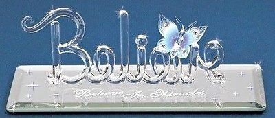 Glass Baron ~ BELIEVE in Miracles w/ Blue Butterfly & Crystal Accents ~ NIB