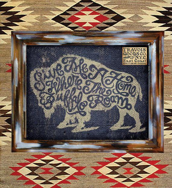 Buffalo Roam americana art print wall decor home design graphic vintage rustic southwest native american poster sign heritage rugged design via Etsy